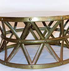 vintage hammered brass on copper drum coffee table ebth bernhardt