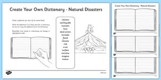 natural disasters key vocabulary create your own