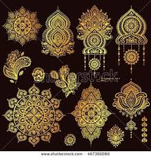 vector set indian floral paisley ornaments stock vector 467366066