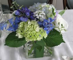 blue and white wedding flowers at basin harbor club floral