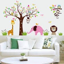 Animals And Tree Cartoon Wallpaper Wall Stickers Kindergarten And - Stickers for kids room
