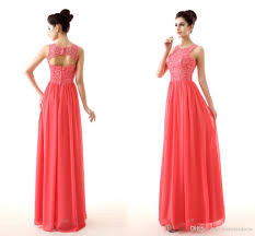 cheap coral color bridesmaid dresses 2015 new design lace and