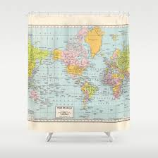 Shower Curtain World Map World Map Shower Curtain Historical Colorful Vintage Map