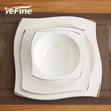 yefine continental creative painted bone china square dinner
