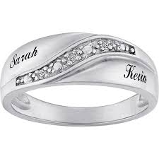 mens silver rings personalized sterling silver mens diamond accent name wedding band