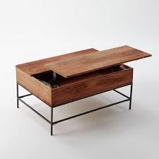 Wood Coffee Table With Storage Industrial Storage Coffee Table West Elm