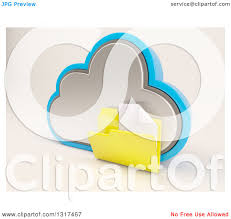 clipart of a 3d cloud storage icon with a plain document folder