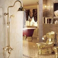 Bathroom Faucet And Shower Sets 2017 Fashion Gold Polished Shower Sets Brass 3 Function Rainfall