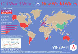 Labeled World Map by Explaining Old World Wines Versus New World Wines Map