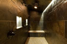 fascinating subway tile walls dark floor bathrooms photo design