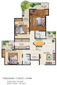 3bhk House Plans Ajnara Grand Heritage Floor Plan