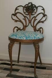 vintage hollywood regency white button tufted velvet vanity chair