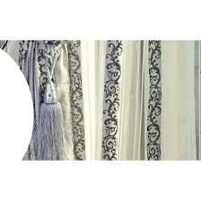 Embroidered Curtain Panels Vine Patterns Embroidered Cotton Blackout Curtains In Blue Buy