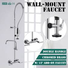 Restaurant Faucets Kitchen by Commercial Wall Mount Pre Rinse Faucet With 12 Inch Add On Sink