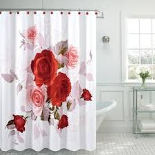Red White Shower Curtain Red Poppy Shower Curtain Wayfair