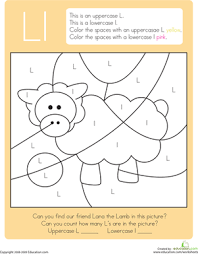 color by letter capital and lowercase l worksheet education com
