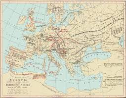 Map Of Constantinople 400 To 800 A D Human Migration Routes Of Barbarian Invasions Jpg
