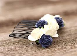 bridal flower wedding flower hair comb blue headpiece bridal flower ivory