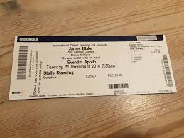 james blake eventim apollo london 01 11 2016 3x tickets stalls