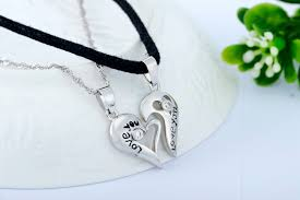 couple love heart necklace images 925 sterling couple pendant lovers necklaces with pair split heart jpg