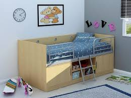 Midi Bed With Desk Midi Sleeper Beech Wooden Midi Sleeper Cabin Bed With Storage