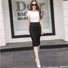 knee length skirt new fashion women midi slim skirt open slit knee length