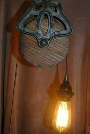 Pulley Island Light Farmhouse Copper Bearing Pulley Pendant Light Lighting 2 Kitchen