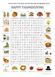 happy thanksgiving wordsearch puzzle worksheet free esl