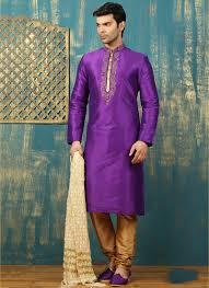 Buy Violet Embroidered Art Silk Wedding Wear Silk Kurta Pajamas Collection For Men Catalog