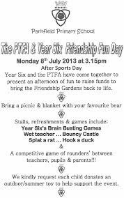 parkfield primary friendship fun day letter