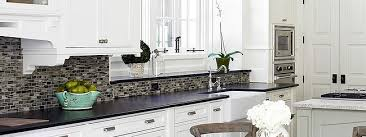 BLACK GRANITE WHITE CABINET GLASS TILE IDEA Backsplashcom - Backsplash with white cabinets