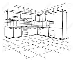 house architecture drawing modern interior sketch of corner kitchen design house