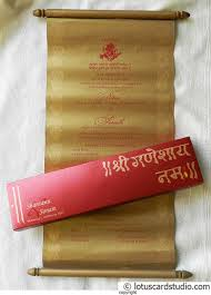 scroll wedding invitation with royal red box and golden scroll
