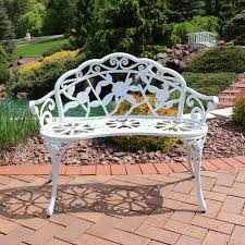 bench garden bench white sunnydaze person cast aluminum classic