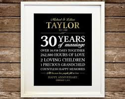 30th anniversary gifts for parents 30 years married etsy