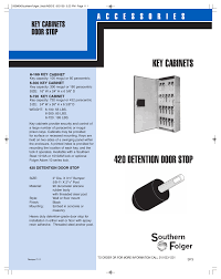 Key Cabinets Southern Folger 420 Detention Door Stop User Manual 1 Page