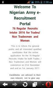 2016 2017 nigerian army regular recruitment intake form 76 rri