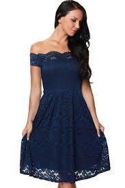 party frocks blue scalloped shoulder lace a line party dress party