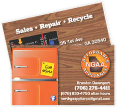 Appliance Business Cards Business Card Design And Printing By Atlanta Advertising Agency