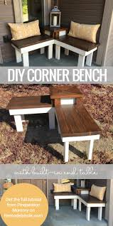 How To Build A Wood End Table by Build A Corner Bench With Built In Table Corner Bench Front