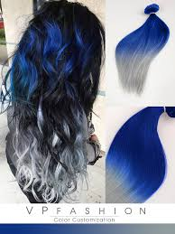 vpfashion hair extensions blue and silver ombre colorful indian remy clip in hair extensions