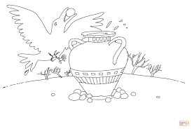 thirsty crow coloring page free printable coloring pages