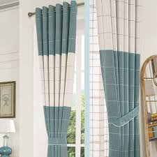 Contemporary Valance Curtains And Blue Plaid Jacquard Chenille Modern Valance Curtains