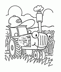 funny cartoon tractor coloring page for toddlers transportation