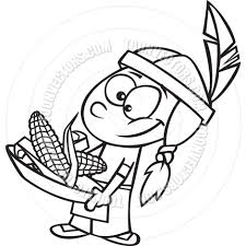 indians thanksgiving cartoon indian boy with corn black u0026 white line art by ron