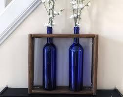 Blue Bottle Vase Wine Bottle Vase Etsy