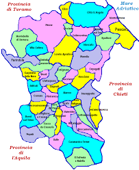 provinces of italy map map of the province of pescara abruzzo italy