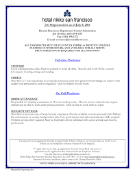 Sample Resume Objectives For Hotel Manager by Sample Resume Hotel Jobs