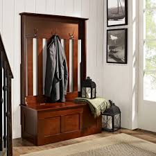 wooden entryway tall hall tree bench coat and hat rack picture