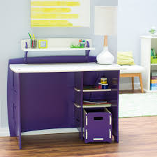 White Children Desk by Legare Kids 43 In Desk With Shelf And File Cart Purple And